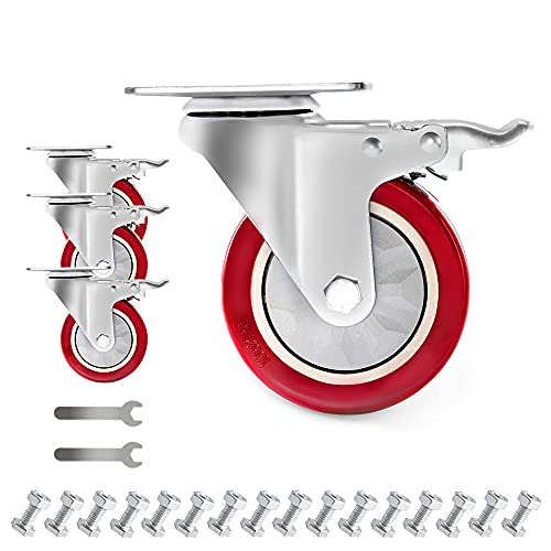 D&L 4 Inch Plate Swivel Casters Wheels 1800lbs Heavy Duty Casters with Brake Polyurethane Dual...