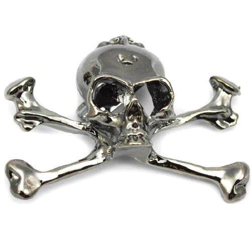 Elixir77UK Oscuro Plateado Jolly Roger Calavera y Huesos Regalo Pin Motero Punk Broche