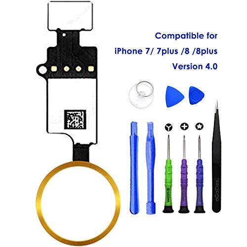 oGoDeal - Repuesto del botón Home, botón de Inicio con Cable Flex para iPhone 7, 7 Plus, 8, 8 Plus con función de Retorno, versión 4.0 (Dorado)