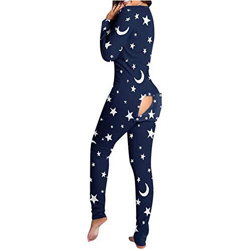 Pijama sexy para mujer, cuello en V, con botones, espalda descubierta, pijama de una pieza Blauer Stern S