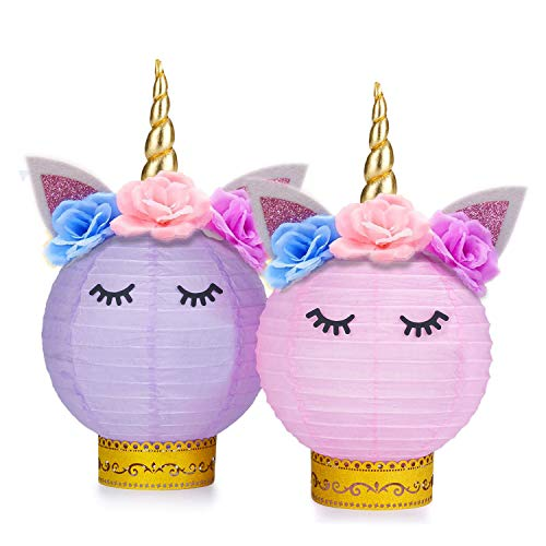Grabo Unicorn Party Supplies and Decorations - Unicorn Table Centerpieces Paper Lanterns DIY for Unicorn Themed Baby Shower, Birthday Party Supplies - Set of 2(Pink, Purple)