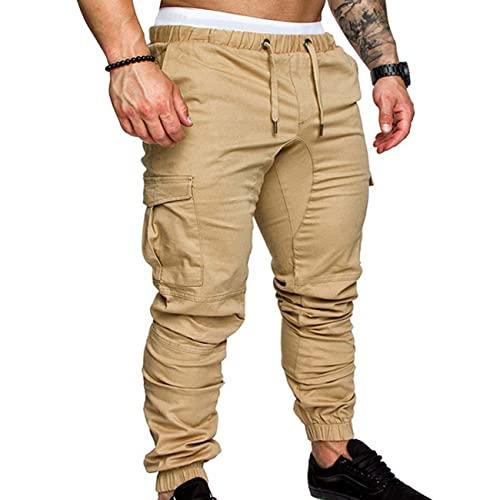 BAIXIAOCHI Pantaloni Multi-Tasche con Utensili Stile Autunno Pantaloni Casual in Tessuto Intrecciato da Uomo E Pantaloni con Coulisse
