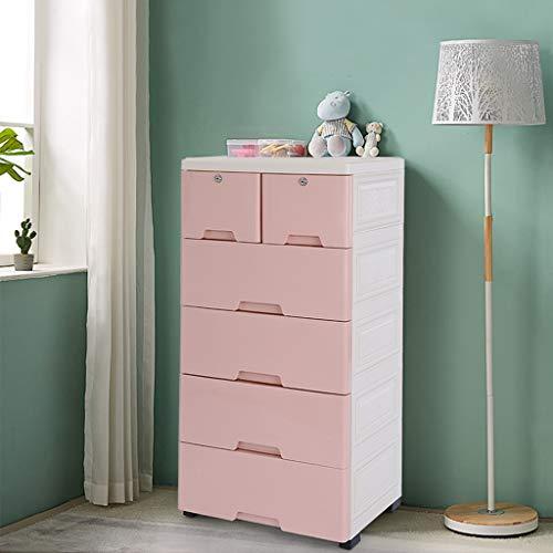 Tengma Plastic Drawers DresserStorage Cabinet with 6 DrawersStorage Drawer UnitsCloset Drawers Tall Dresser Organizer for ClothesPlayroomBedroom Furniture Easy Pull HandlePink