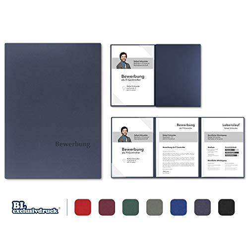 5 Stück 3-teilige Bewerbungsmappen BL-exclusivdruck® OPTIMA-plus in Marineblau - Premium-Qualität mit edler Relief-Prägung 'Bewerbung' - Produkt-Design von 'Mario Lemani'