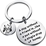 Piglet and Pooh Keychain A Day Without A Friend is Like A Pot Without A Single Drop of Honey Winnie The Pooh Jewelry for Best Friends (day without Keychain)