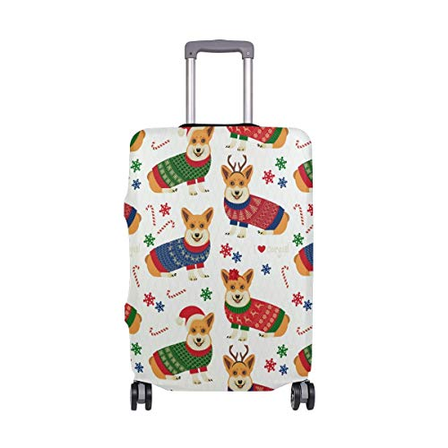 Corgi with Christmas Hat Pattern Luggage Cover Baggage Suitcase Travel Protector Fit for 18-21 Inch