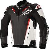 Alpinestars Blouson moto Atem V3 Leather Jacket Black White Red Fluo, Noir/Blanc/Rouge, 52
