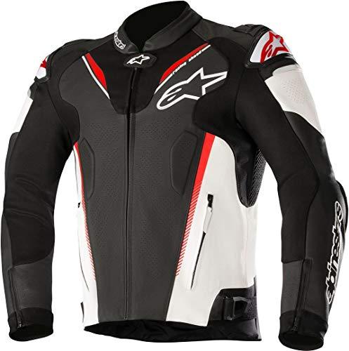 Alpinestars Men's Atem v3 Leather Motorcycle Jacket, Black/White/Red, 56