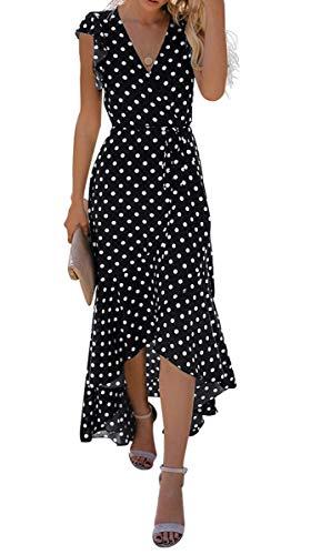 GRECERELLE Women's Summer Floral Print Cross V Neck Dress Bohemian Flowy Long Maxi Dresses PD-Black-M