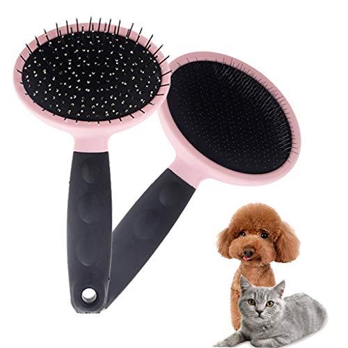 WEIFU Katzenbürste Pet Soft Brush 2 STK. Dicke und feine Nadeln Shedding Entfernt lose Unterwolle, Slicker Brush für Pet Massage-Selbstreinigung Pink