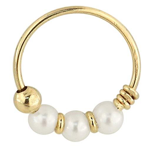 9 K vaste geel goud drievoudige parel bal 22 gauge Hoop neus piercing ring sieraden