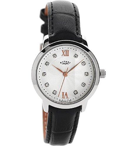 Rotary Damen-Armbanduhr LS42825/21 Analog mit weißen Kristallen, Roségold-Details und schwarzem Lederband