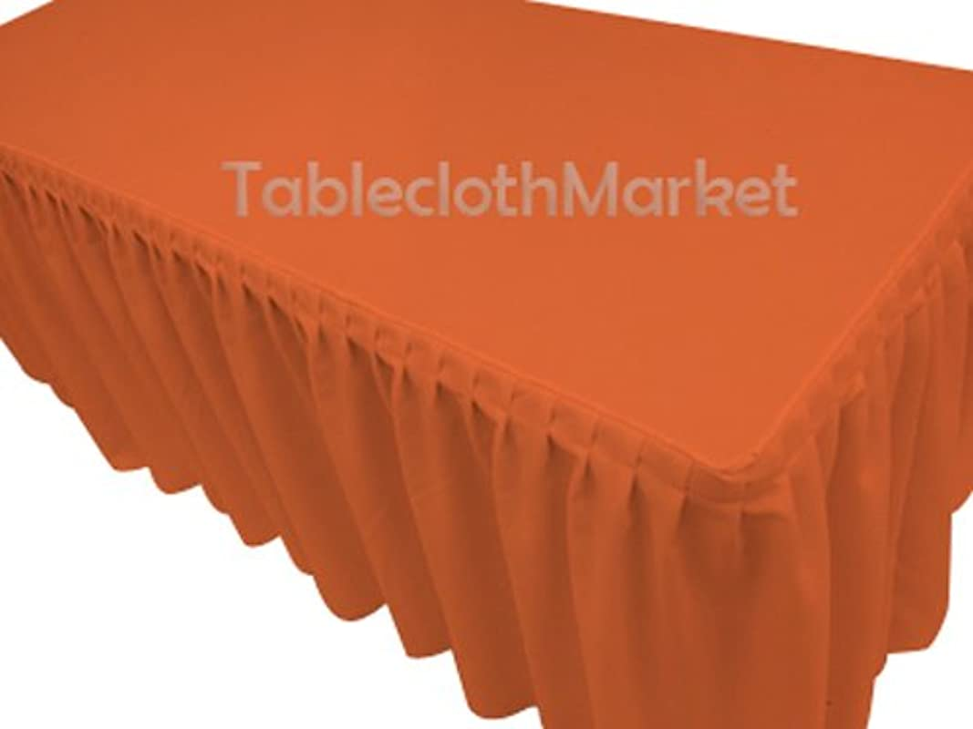 6 Ft Fitted Tablecloth Single Pleated Polyester Table Skirt Cover W Top Topper Orange