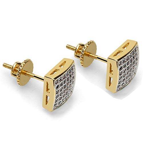 NCDFH Mens Hip Hop Stud Earring Zircon Ice out Bling Color Dorado Cobre Pendientes Cuadrados geométricos Hombres Hiphop Rapper Jewelry Gold