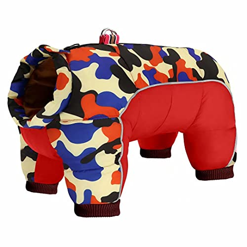 Beirui Padded Winter Puppy Dog Clothes for Small Girl Boy Dogs,Waterproof Pet Puppy Snowsuit Coat,Warm Dog Snow Jacket Clothes for Chihuahua French Bulldog (Red Camo,Chest 19'')