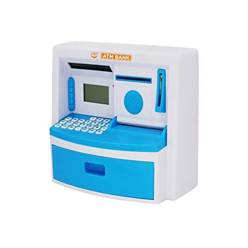 Hucha Hucha electrónica ATM Mini contraseña Monedas de Dinero en Efectivo de Billetes Caja Fuerte Caja de Ahorro Calculadora Reloj Despertador Regalo de los niños (Color : Blue)
