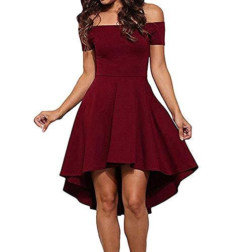 VILLAVIVI Damen Kleid, Schulterfrei Cocktailkleid Skaterkleid Knielang Elegant Kleid (Rot, L)