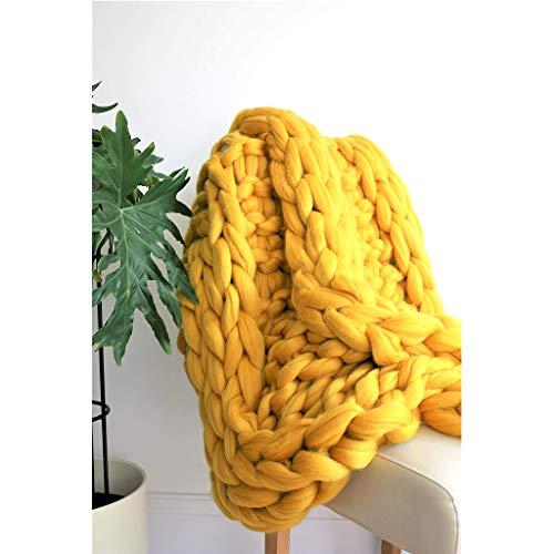 WXXW Grof gebreide deken handgemaakt van Soft Knitting Throw Bed slaapkamer Decor Vergrendelde sofa gebreide deken