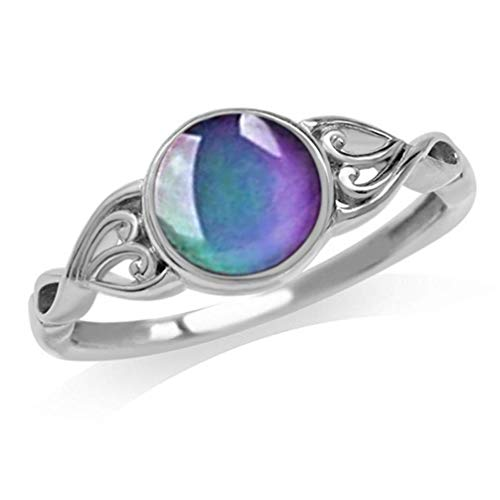 Myhouse Vintage Style Multi-Color Change Round Crystal Stone Emotion Feeling Mood Ring for Women (Size 9)