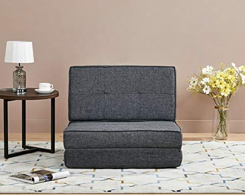 Amazon Basics - Sofá cama, 74 x 80 x 61,5, gris oscuro