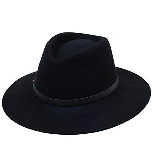 Kapmore Mens Unisex Plain Fühlte Gangster Fedora Hut mit Lederband Gürtel neu