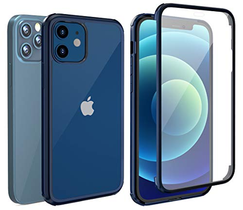 LOFTER 360 Case Compatible with iPhone 12 Case/iPhone 12 Pro Case with Built-in Screen Protector Tempered Glass Full-Body Dual Layer Rugged Clear Bumper Case for iPhone 12/12 Pro 6.1