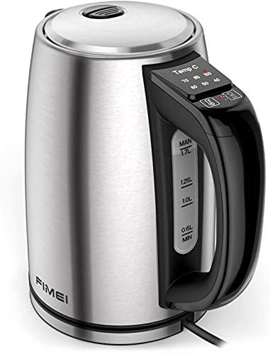FIMEI Bollitore Elettrico con Termostato Regolabile, 6 Temperature Preimpostate per Bollitore da Tè Bollitore in Acciaio Inox 1,7L, 2200 W, con Funzione di Mantenimento Caldo per 2 Ore