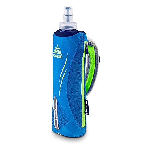Aonijie Quick Grip Handheld Water Bottle for Running, Hand Strap Hydration Pack with 500ml Handheld Soft Flask Water Bottle (Blue)