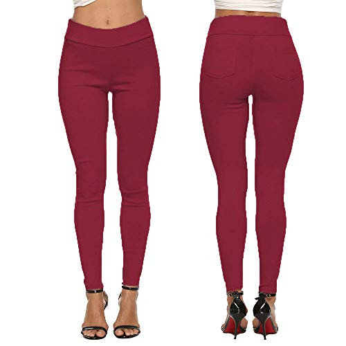 Pantalones de Mujer de otoño de Cintura Alta Pies pequeños de Nueve Puntos Pantalones de Cintura Alta Slim Color sólido Lápiz Pantalones Casuales