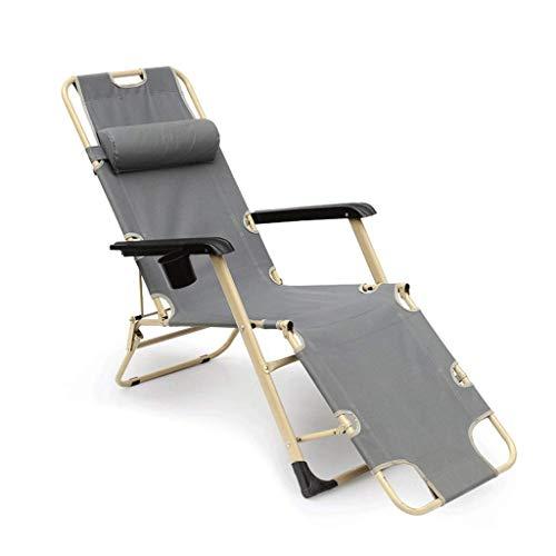 Alvnd Silla Plegable Cero de la Gravedad Cama de Camping, Cero Gravedad reclinable sillón reclinable sillón sillón sillas reclinables Carga hasta 200 kg, 600d Oxford Tejido, reposacabezas, gris178 cm