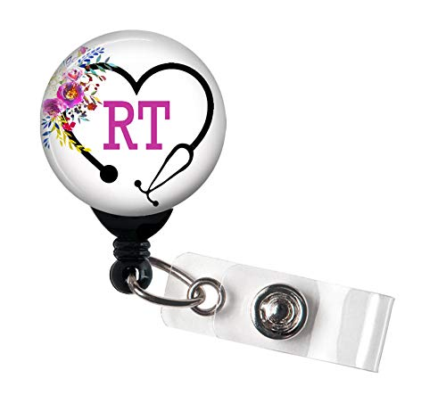 RT Heart Steth Floral - Retractable Badge Reel with Swivel Clip and Extra-Long 34 inch Cord - Badge Holder/Pulmonologist/Pulmonology/RT/Respiratory Therapist/Pulmonary