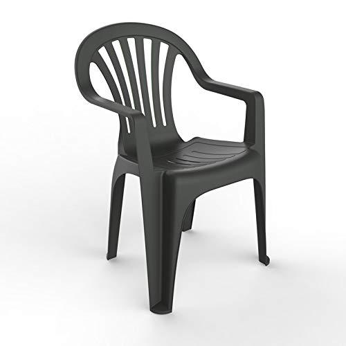 resol Nuevo Pals sillón Silla con Brazos de plástico para jardín Exterior terraza - Color Antracita, Set de 4 Unidades