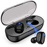 Bluetooth Kopfhörer, IPX7 Wasserfest Bluetooth Headset, Stereo-Minikopfhörer CVC Noise Cancelling Earbuds Headset Und Touch-Control 5.0 Sport Wireless Bluetooth in Ear Kopfhoerer für...