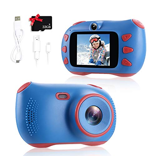 SWEET CARROT Appareil photo numérique pour enfant avec écran IPS de 2 pouces, 1080p HD, carte TF 32 G, jouet cadeau pour garçons ou filles (bleu)