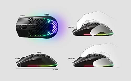 SteelSeries Aerox 3 - Superleichte Gaming-Maus - Optischer TrueMove Core Sensor mit 8.500 CPI- Ultraleichtes, wasserfestes Design - Schwarz - 3