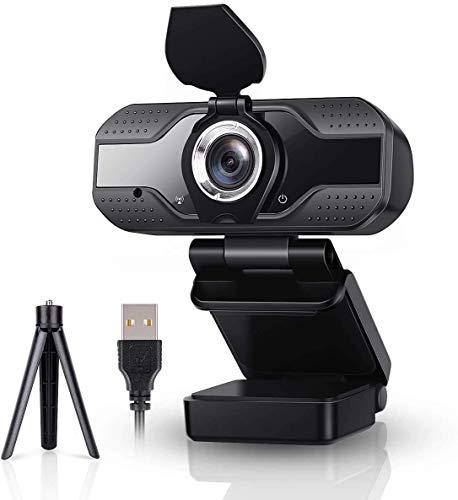 ESHUNQI Webcam 1080P Full HD con Micrófono Estéreo,Cámara Web para Video Chat y grabación, para computadora portátil de Escritorio, videollamadas, Estudios, conferencias, Juegos (trípode Incluido)