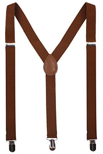 BODY STRENTH Mens Suspenders Adjustable Y Back 3 Clips Brown