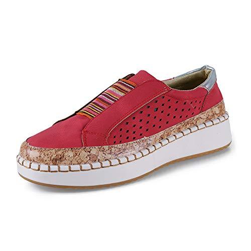 Mocasines Mujer Zapatos Alpargatas Plataforma Mujer Verano Loafers Plano 3.5CM Sneakers Cuña Zapatos Cómodos Rojo 41