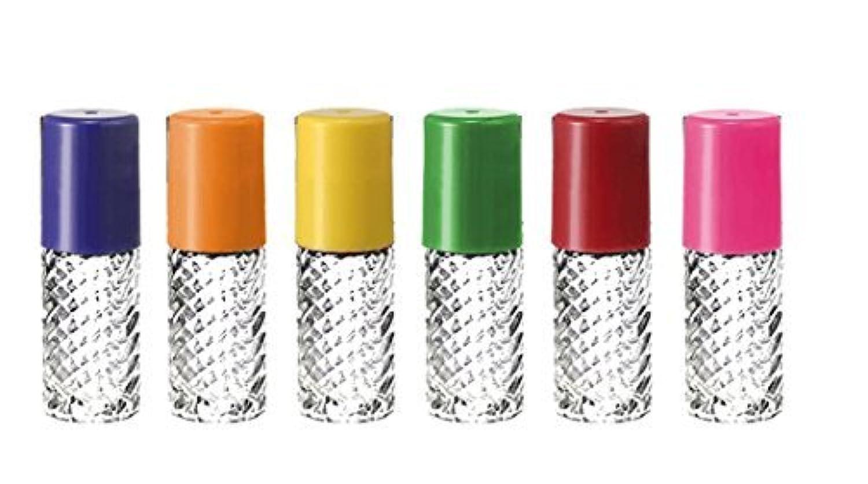 にフィットネス患者Grand Parfums Rainbow Fancy Large 30ml Roll On Empty Glass Bottles for Essential Oils Refillable 1 Oz Glass Roller 6 Pack Clear Swirled Glass 30 ml [並行輸入品]