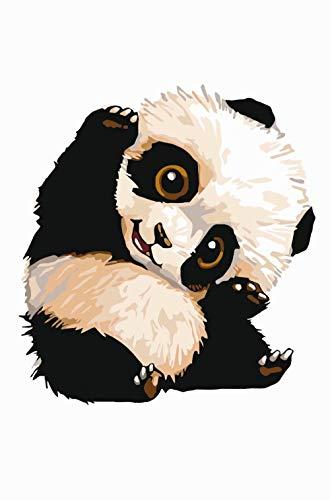 Adminsss Malen nach Zahlen kit DIY Vorgedruckt Leinwand Malen Nach Zahlen für Kinder Erwachsene Anfänger Enthält Acrylfarben und 3 Pinsel 40x50cm Ohne Rahmen Frecher Panda