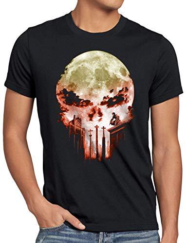 A.N.T. Vengador Ciego Camiseta para Hombre T-Shirt Dare Diablo Comic Luna Llena Calavera, Talla:L