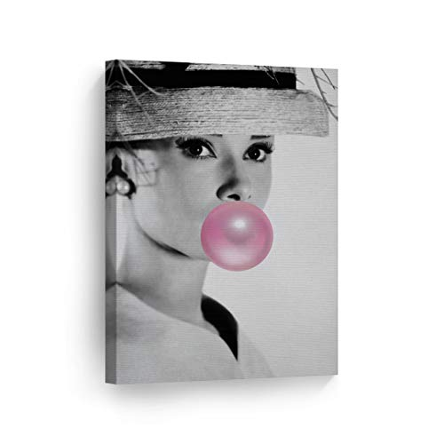 Audrey Hepburn Bubble Gum Chewing Gum Black and White Canvas Print Home Decor/Iconic Wall Art/Gallery Wrapped Canvas Art Stretched/Ready to Hang (17 x 11)