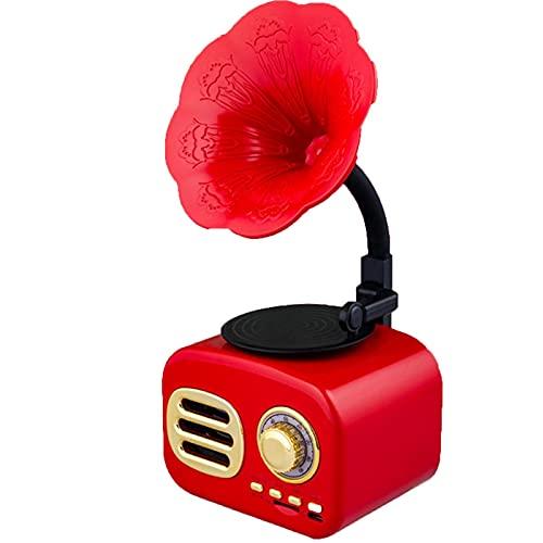 Tocadiscos, Adornos de gramófono Vintage, Altavoces creativos, Tocadiscos con Altavoz Bluetooth de Cuerno de Cobre y Subwoo