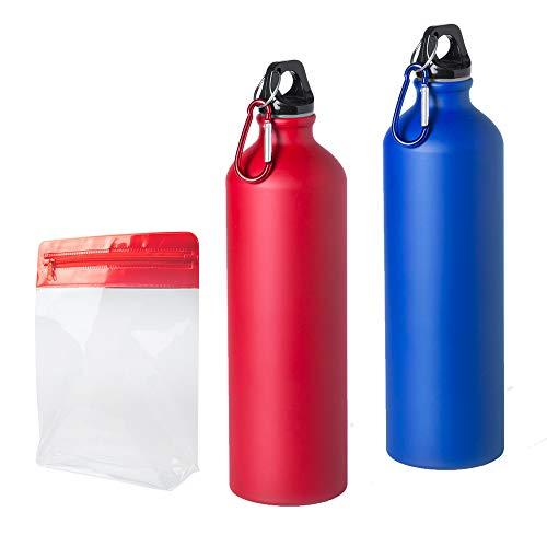 Natuiahan 2 Botellas para Deporte de Aluminio Ligero para Agua (800 ml Tapa de Seguridad sin Fugas y Mosquetón de Transporte de Metal. Incluye una Bolsa Multiusos