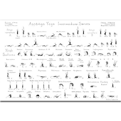 BINGJIACAI Astanga Yoga Serie intermedia Ejercicio Músculo Fitness Entrenamiento Póster Pintura en lienzo Negro Blanco Arte de la pared Impresión de imagen Gimnasio Decoración-50x70cm Sin marco