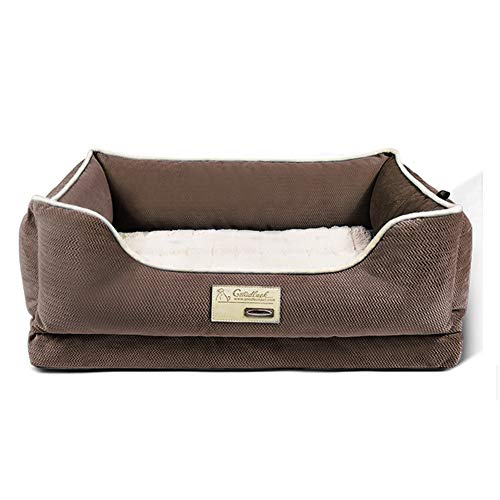 Hundebett Haustierbett Groß Gedächtnisschaum Hundebett - Orthopädie Haustierbett Sofa mit abnehmbarem waschbarem Bezug und rutschfester Boden (Color : Brown, Size : L-90×68×20cm)