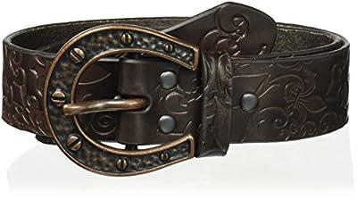 Ariat Women's Fleur de Lis Horse Shoe Buckle Belt, brown, Small