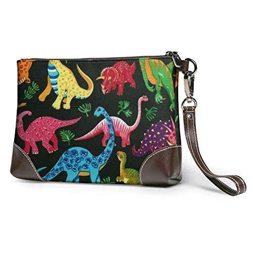 XCNGG Cartoon T-Rex Dinosaur stampato pochette borsa staccabile in pelle da polso borsa a portafoglio borsa da donna