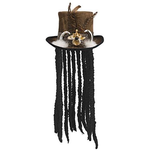 Cappello Voodoo Buluku con capelli rasta e decorazioni piume, marrone