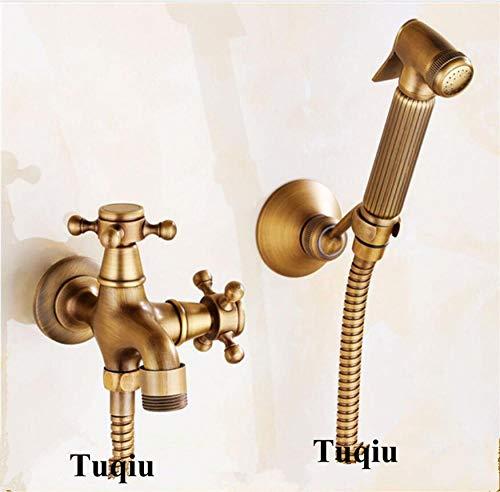 Grifo de bidé de baño antiguo kit de ducha de bidé de inodoro rociador de bidé portátil con rejilla de ducha de latón y bidé de manguera de 1 5 m,CPV0TRWF